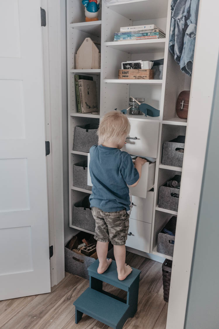 Tips for organizing a shared kids closet- what works for us!
