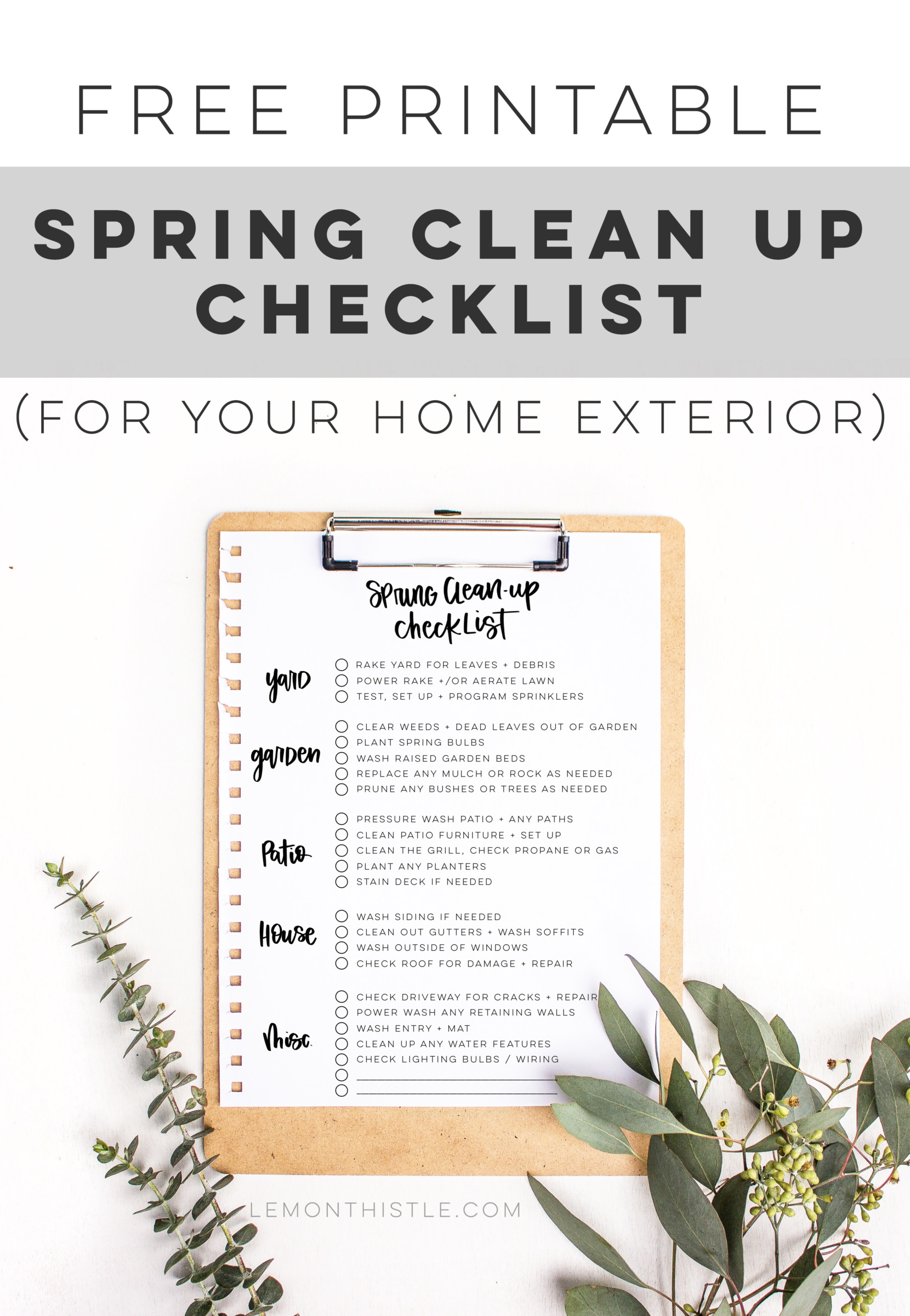 Outdoor Spring Clean Up Checklist Lemon Thistle