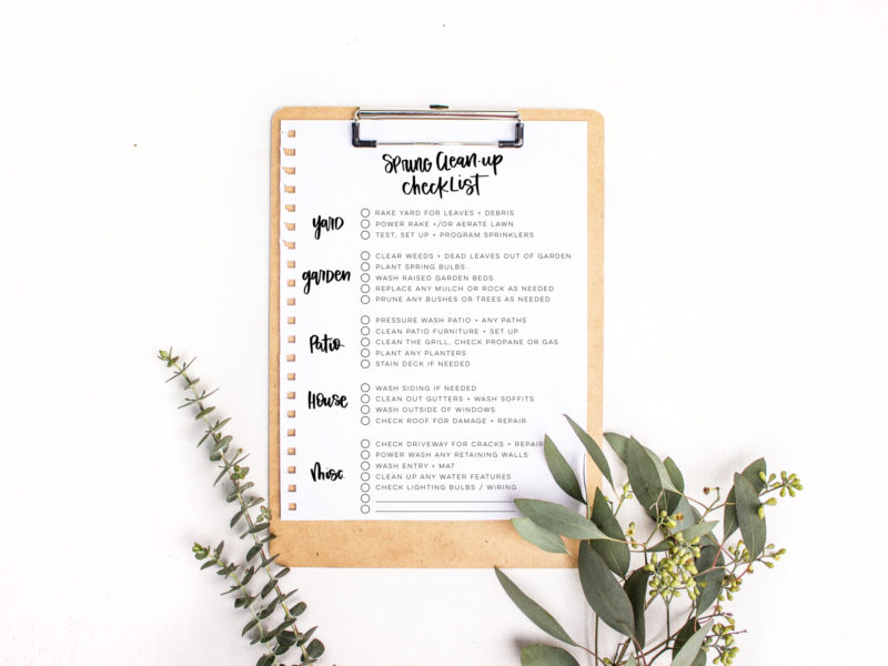 Free Printable Spring Clean Checklist for the exterior
