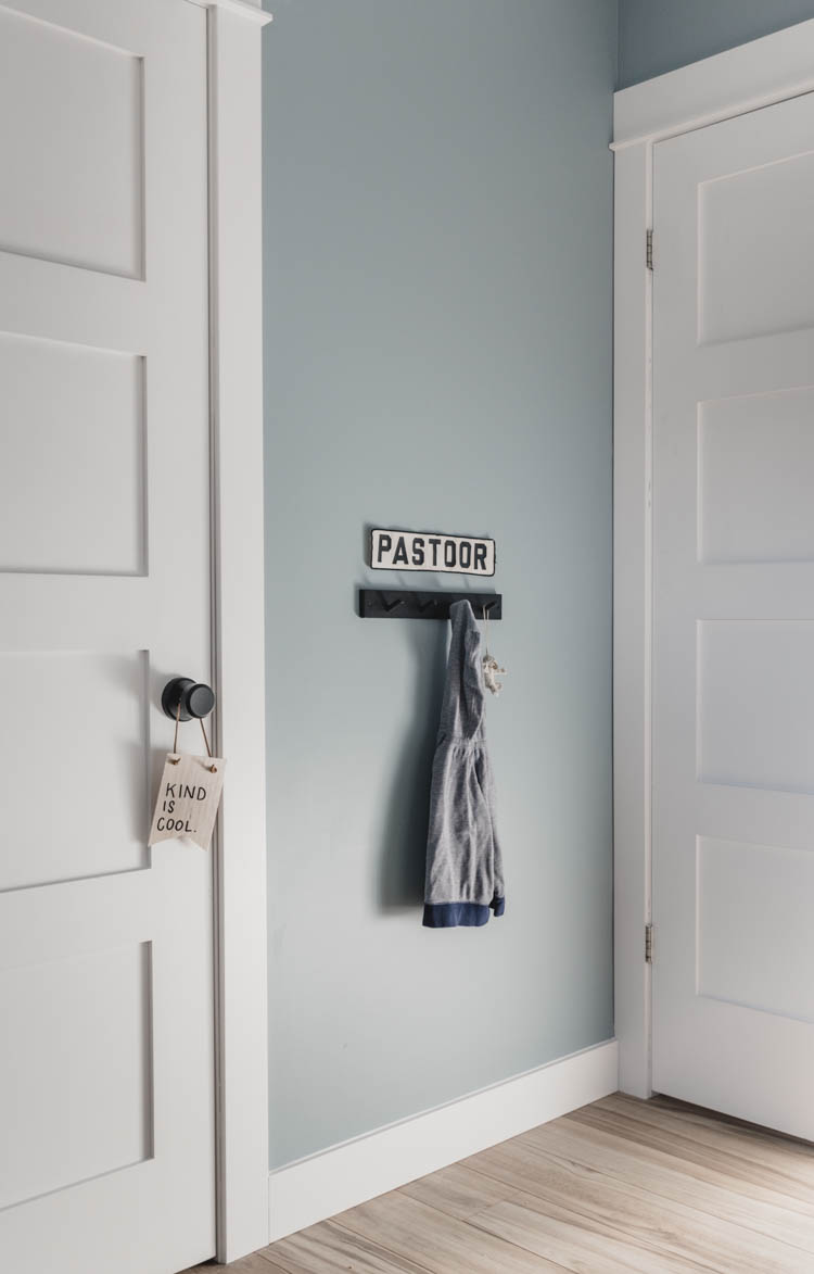 Dad's Little hockey jersey name over coat hooks- perfect for a boys bedroom