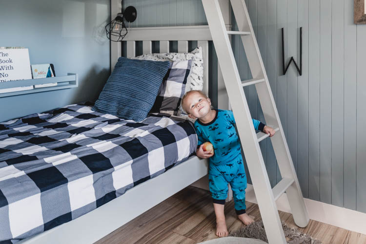 Boys Shared Bedroom Reveal with painted beds, shiplap and nordic style