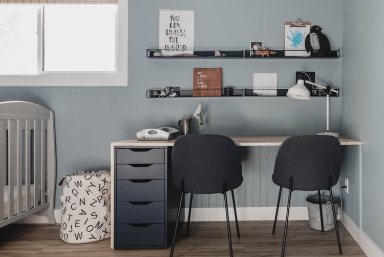 Built in desk for kids shared bedroom - modern nordic look