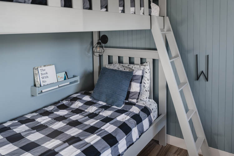 Wall Mounted bookshelves for bunk bed night stands- love the reading light too!