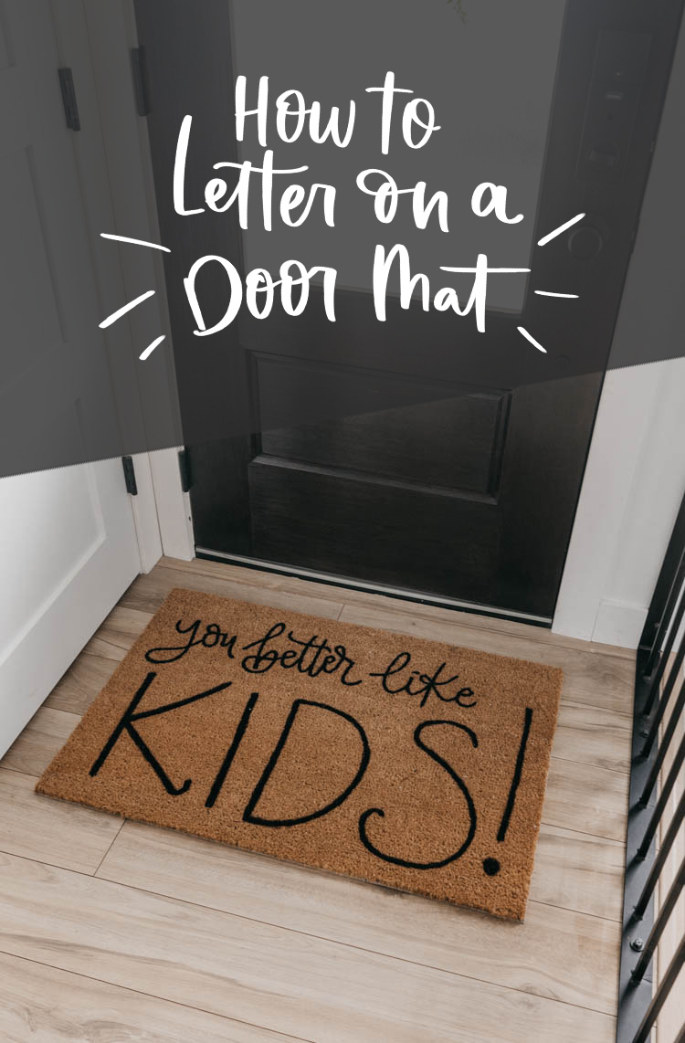 Text overlay DIY Personalized Door Mat- great video tutorial on how to letter on coir mats!