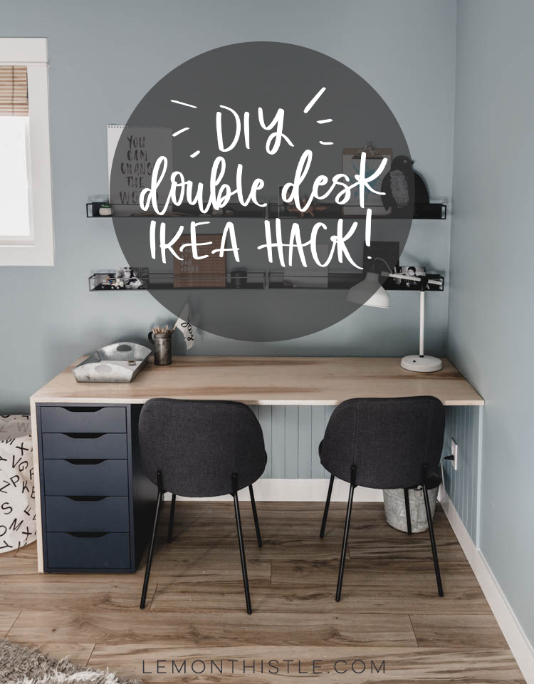 Ikea double desk hack using the alex drawers... looks so modern with the waterfall edge and light plywood!