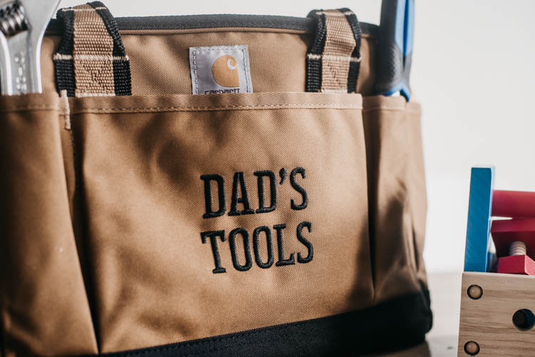 Embroidered tool caddy for Father's Day- love it!