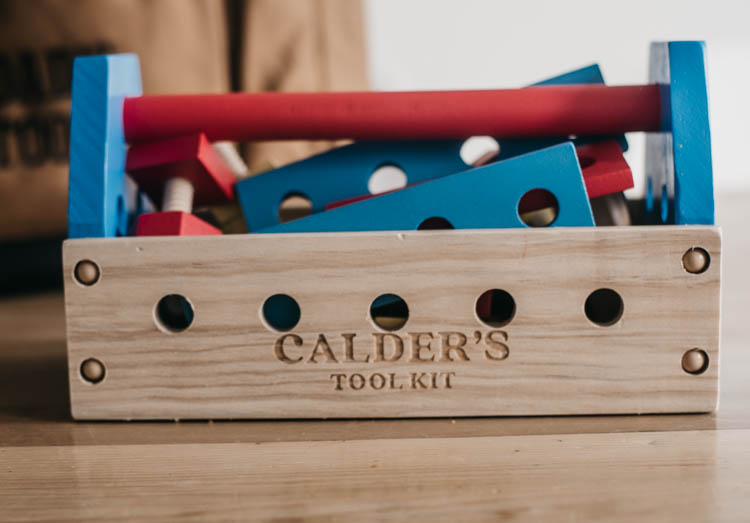 Love the personalized wooden tool kit for a toddler! Perfect so they can tag along with dad
