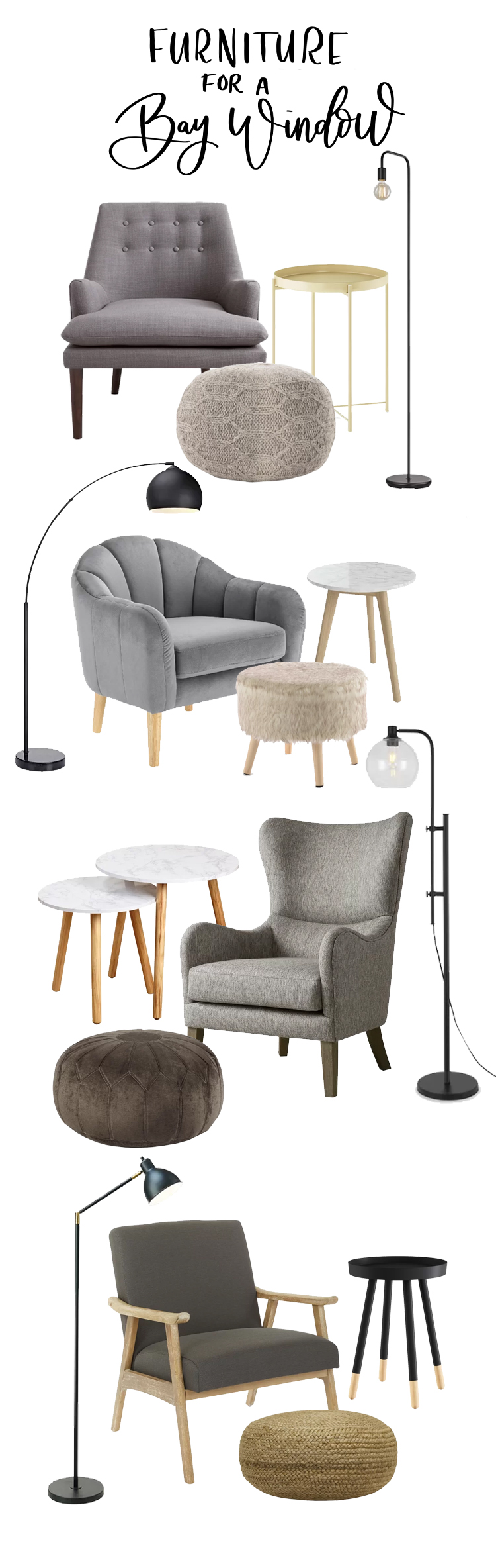 Choosing furniture for a bay window reading nook (with links)
