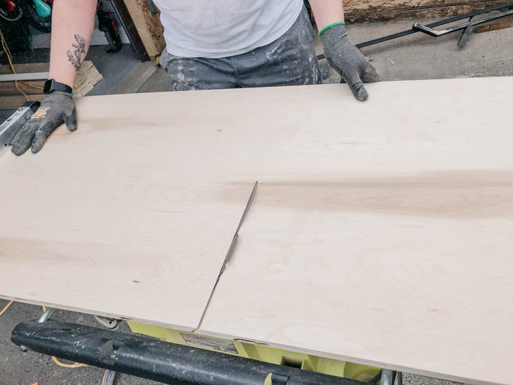 Cutting plywood with a miter edge for a waterfall top desk