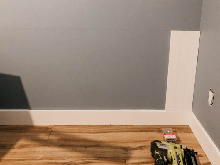 Using baseboard for shiplap backing for a double desk