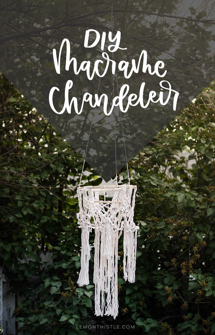 DIY Macrame Chandelier text overlay