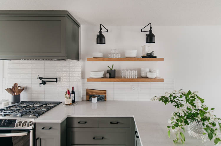 Kitchen open shelving- styled simply with every day dishes
