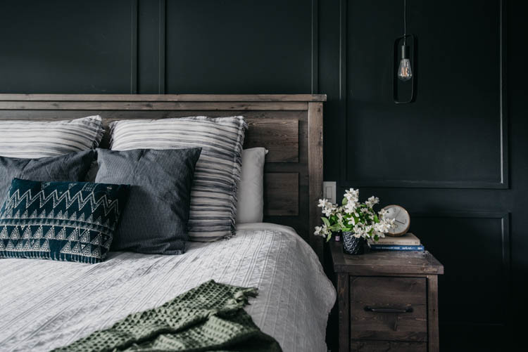 Dark and moody summer bedroom