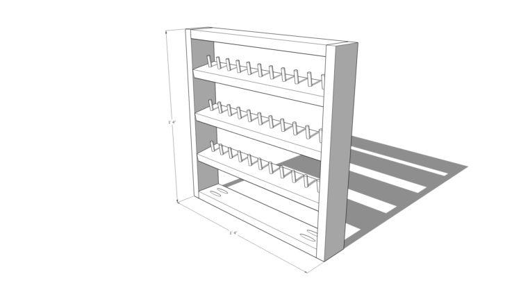 Free plans for a DIY thread shelf