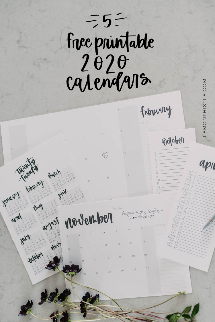 5 free printable 2020 calendars- all in one place