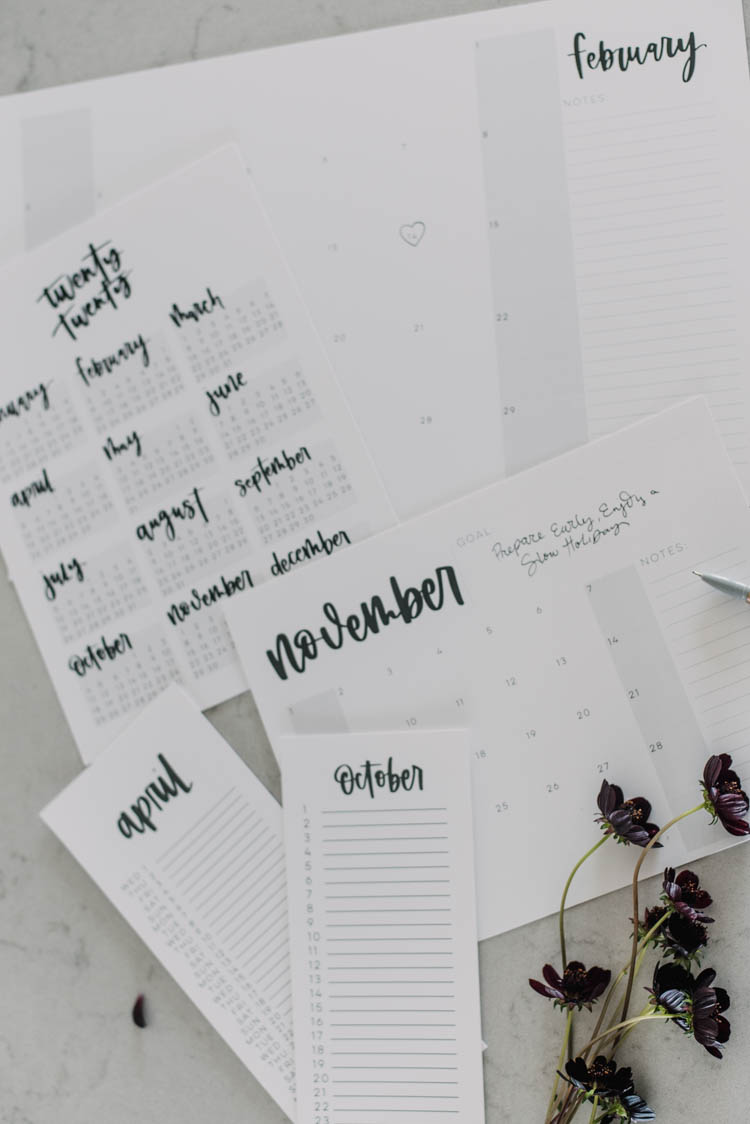 5 formats of free printable 2020 calendars! All hand lettered, modern and minimalist.