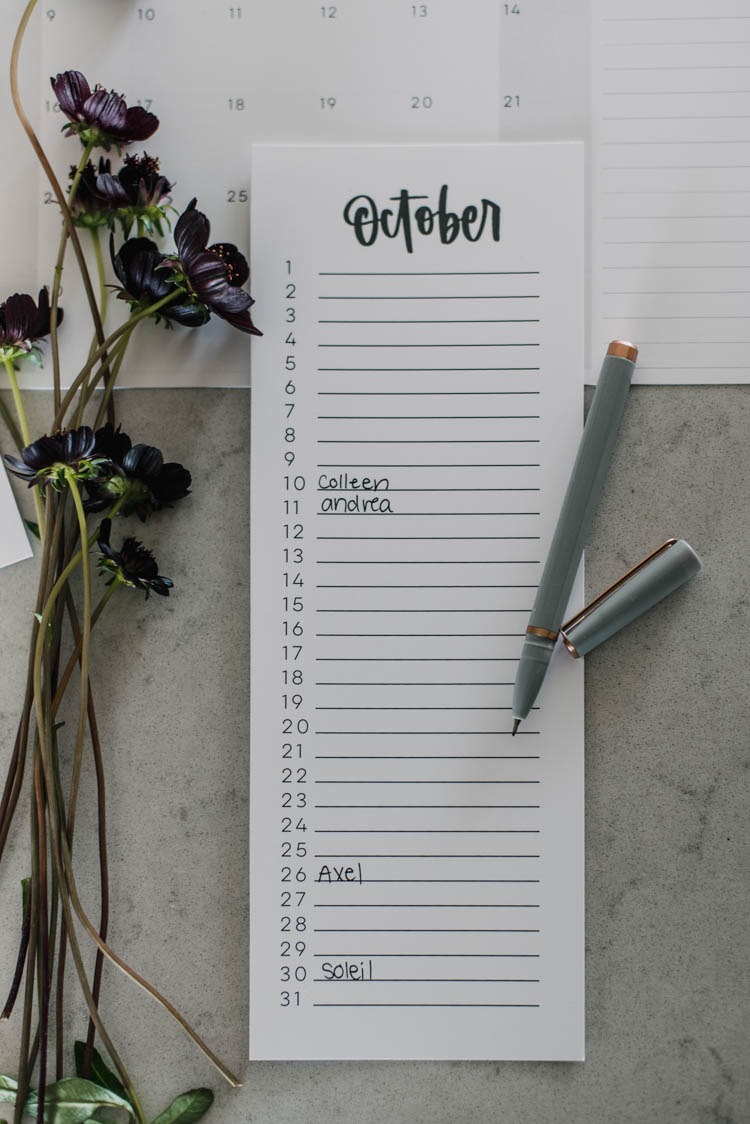 Free Printable Perpetual calendar... perfect for birthdays!