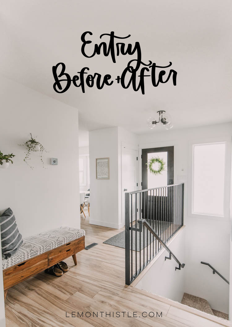 Modern entryway makeover before and after with text overlay