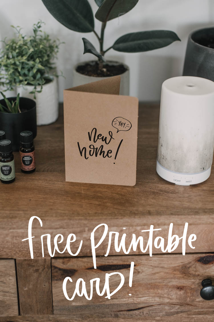 Free Printable (yay!) New Home Card and gift basket idea!