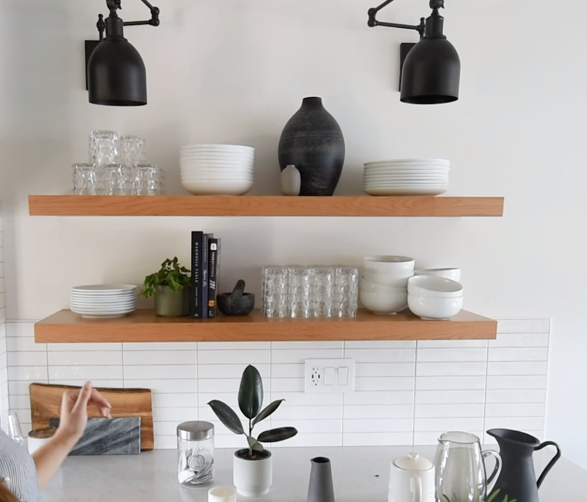 How to style kitchen open shelves for function and look