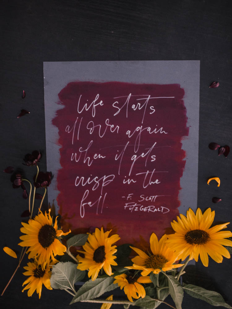 Fall DIY Acrylic Sign... love this hand painted look! 'Life starts all over again when it gets crisp in the fall'