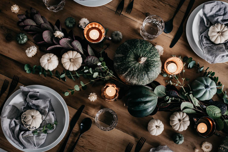 Moody Autumn Tablescape with foliage and pumpkins