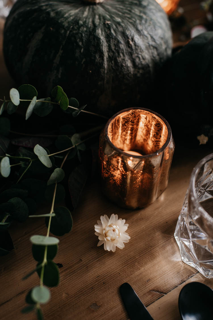 Mercury glass tealight holders, straw flowers and eucalyptus... such a pretty and nontraditional fall decor combination!