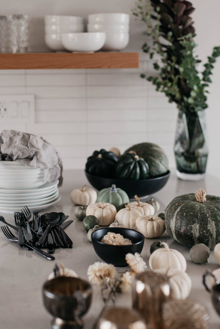 Gathering all the elements for a neutral greens fall tablescape.