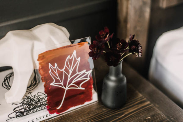 Hand painted DIY acrylic sign with maple leaf vinyl transfer