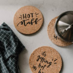 Punny Cork Coasters... DIY from the dollar store! Such a fun gift idea!