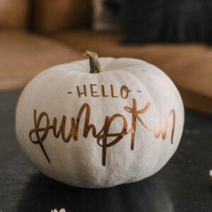 Matte metallic pumpkin with 'hello pumpkin' hand lettered design (free cut file)