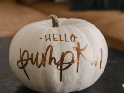 Matte metallic pumpkin with 'hello pumpkin' hand lettered design (free cut file)