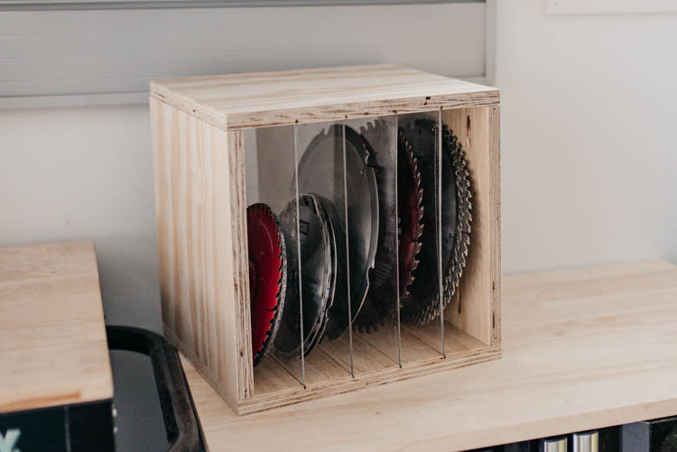 DIY Sawblade Storage box with acrylic dividers