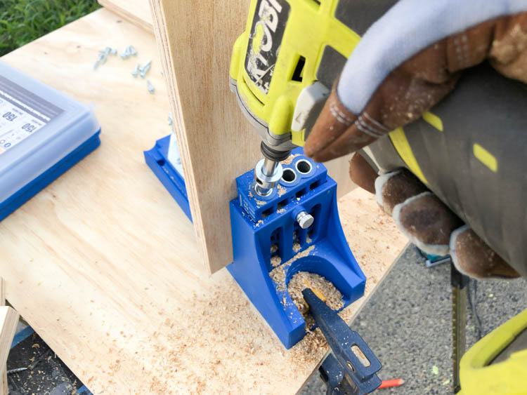 Drill pocket holes to assemble the saw blade storage box (free plans!)