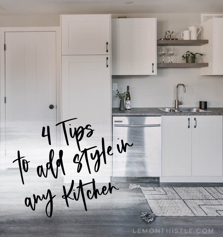 Title image! Sharing this basement kitchen reveal plus 4 tips to decorate a kitchen... of any size or style.