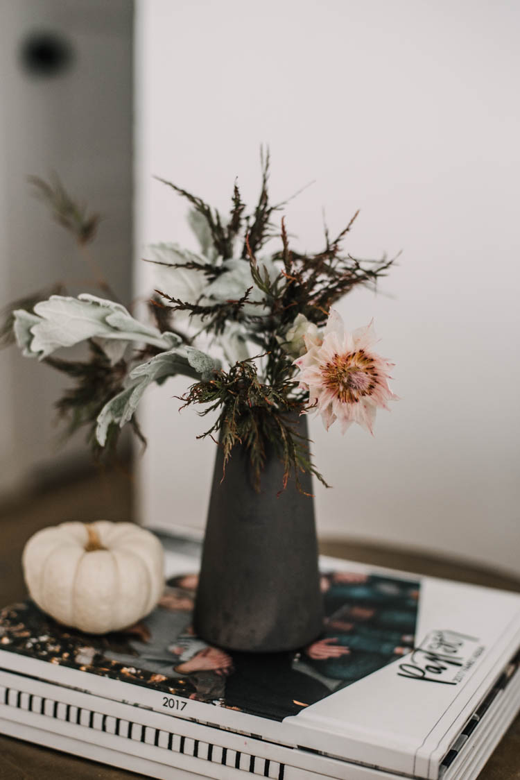 Modern floral arrangement for fall