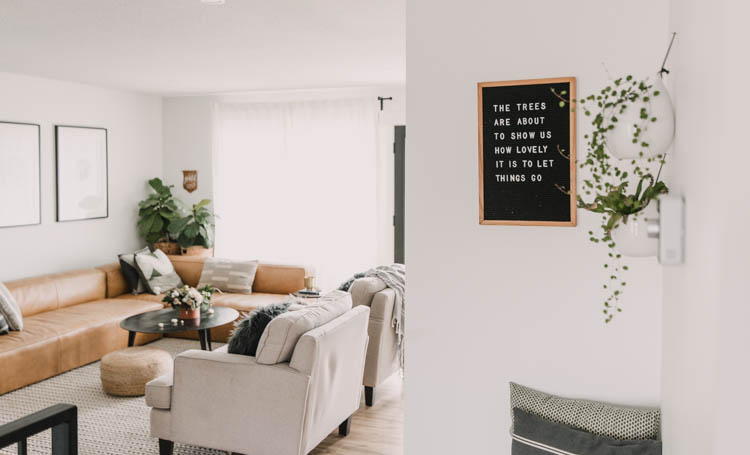 The trees are about to show us how beautiful it is to let go. Letterboard quote in this fall home tour