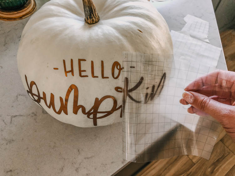 Using transfer tape for matte adhesive foil material... on pumpkins!