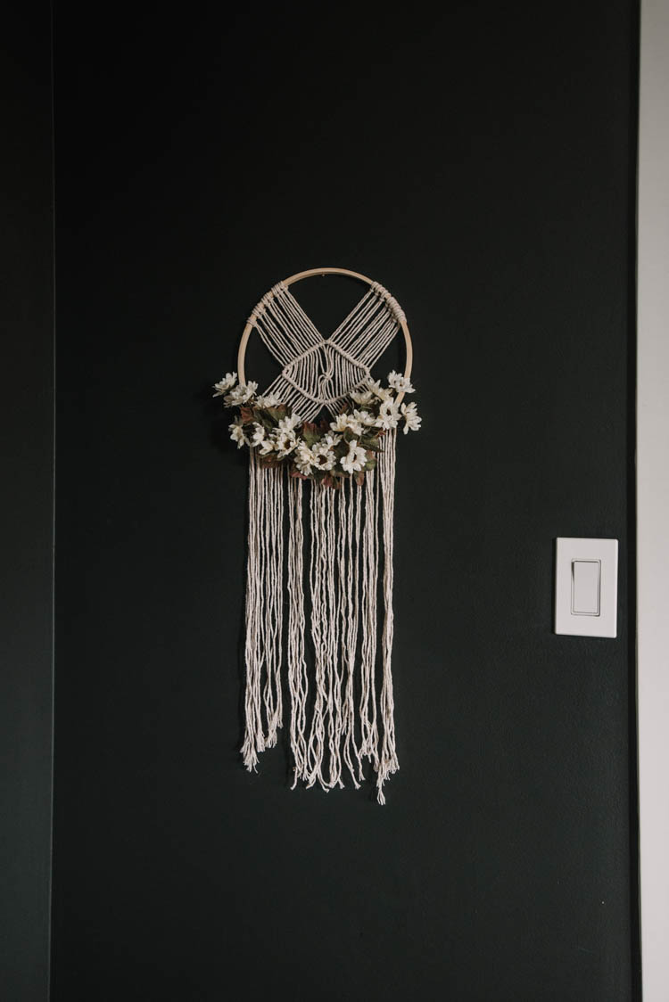 DIY Macrame Hoop from dollar store supplies
