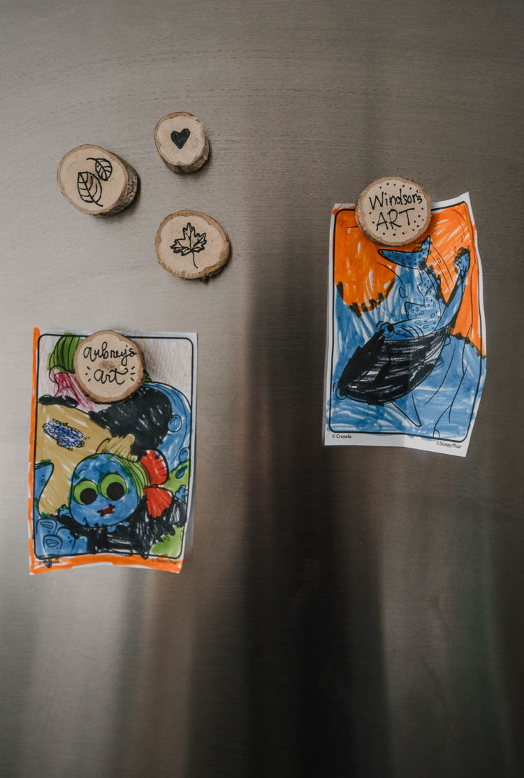 DIY Magnets to control kids art on the fridge