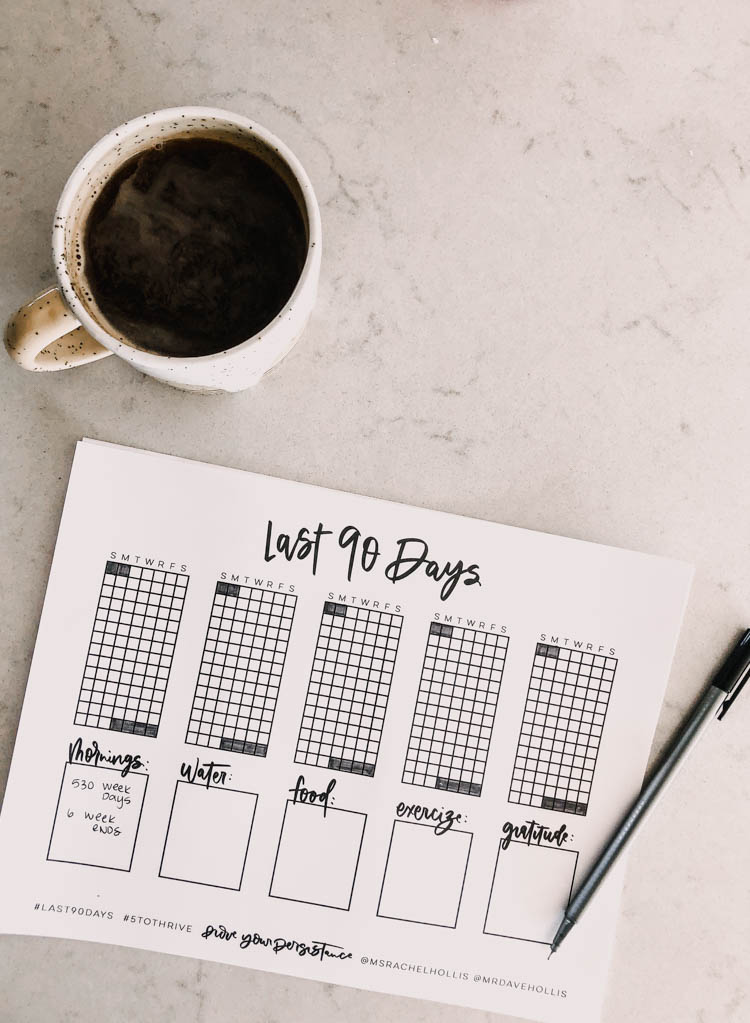 Free printable tracker for the #last90days challenge... love that as you shade them in you can see which days of the week you struggle with most (weekends- ha!)