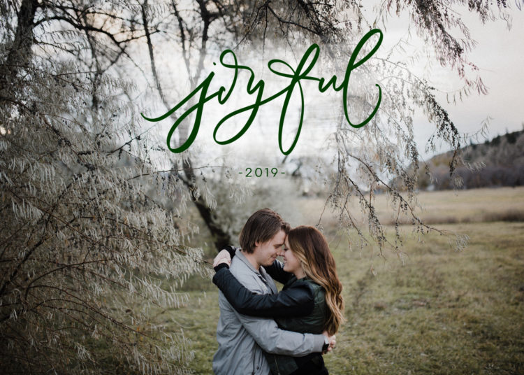joyful 2019 handlettered card design (download)
