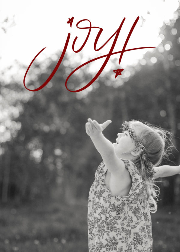 joy! hand lettered holiday card design (downloadable)