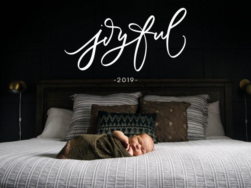 joyful 2019 handlettered card design (download)