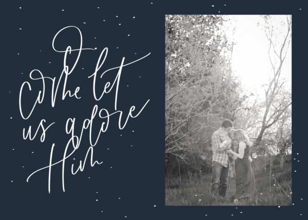 o come let us adore him holiday card design for photo cards (download)