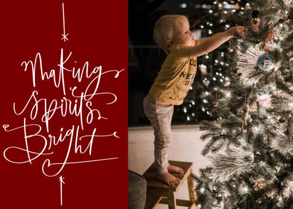 making spirits bright holiday card design