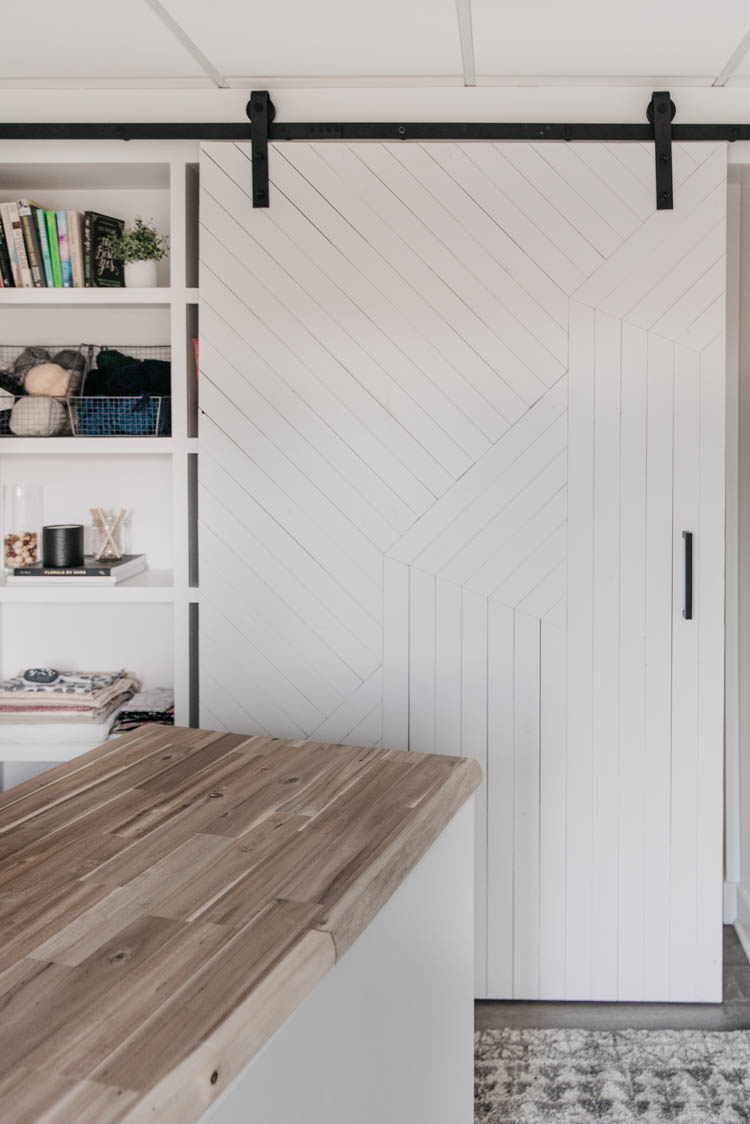 DIY Barn Door with a modern wood pattern