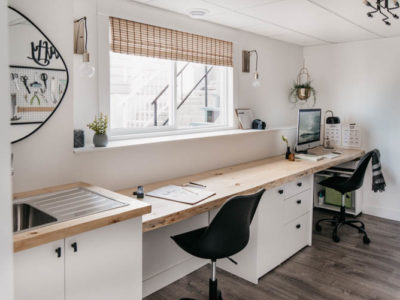 Office layout for a long narrow room