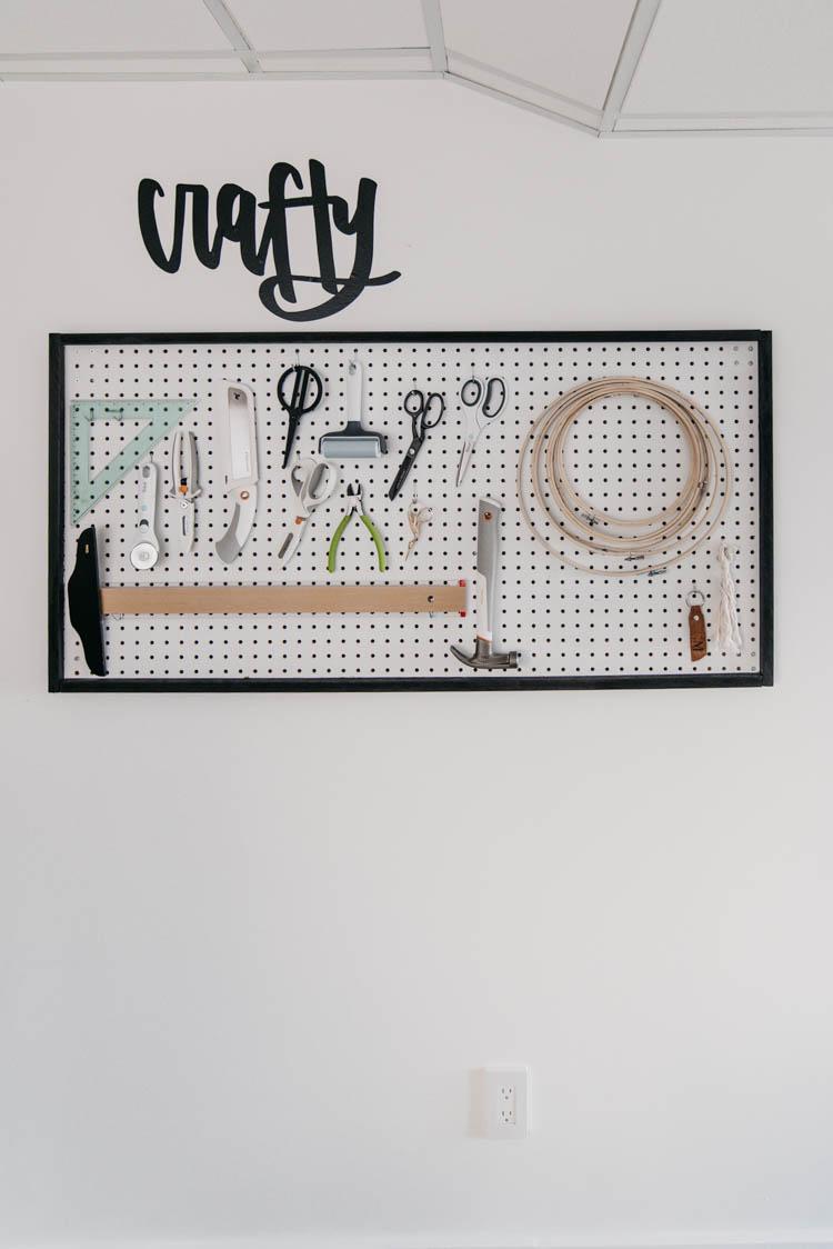 DIY Framed Peg Board for craft room