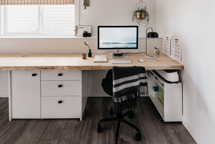 DIY Office Reveal (live edge desk!) with lots of craft storage (like that cricut cart!)